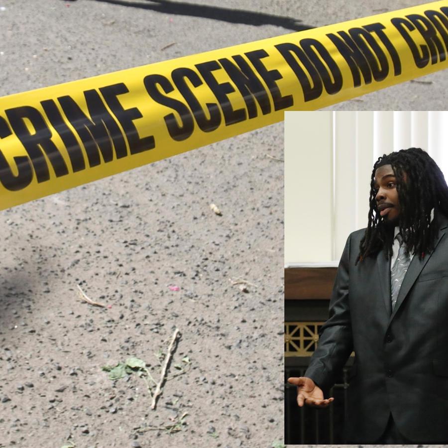Imagen de archivo de un cordón policial. A la derecha, Micheail Ward durante el juicio.