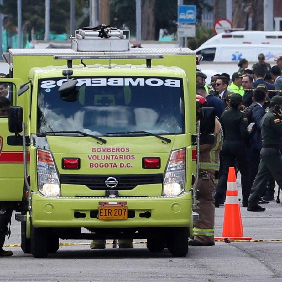 Escena del atentado contra escuela de policía en el sur de Bogotá hoy
