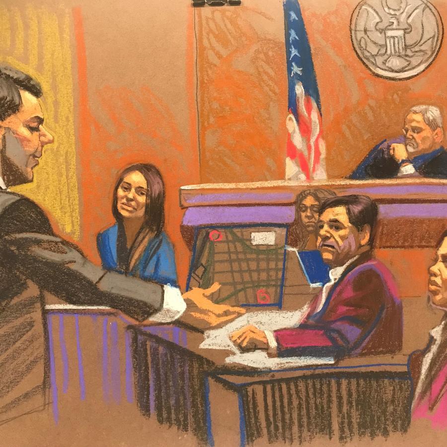 Dibujo de la corte en Brooklyn (Nueva York) donde se lleva a cabo el juicio contra Joaquín Guzmán Loera por narcotráfico.