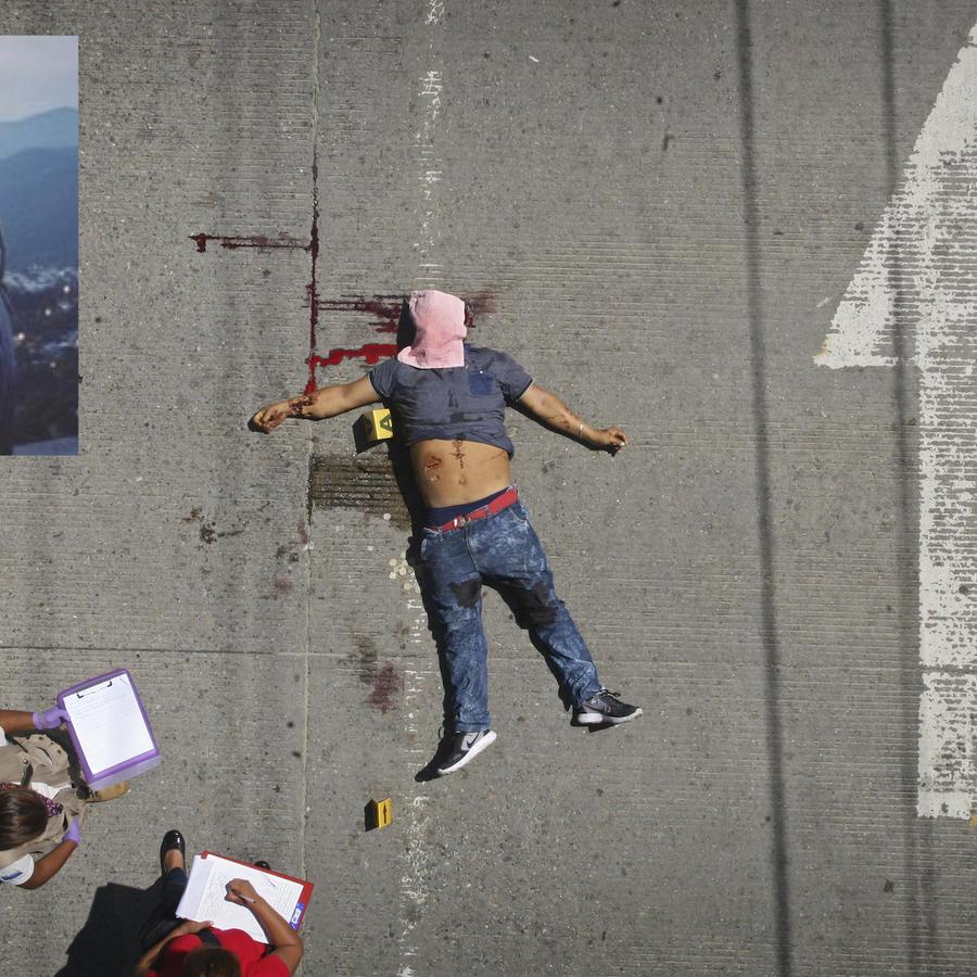Imagen de archivo de un crimen en Acapulco en agosto de 2017. A la izquierda, imagen de John Galton distribuida por las autoridades mexicanas.
