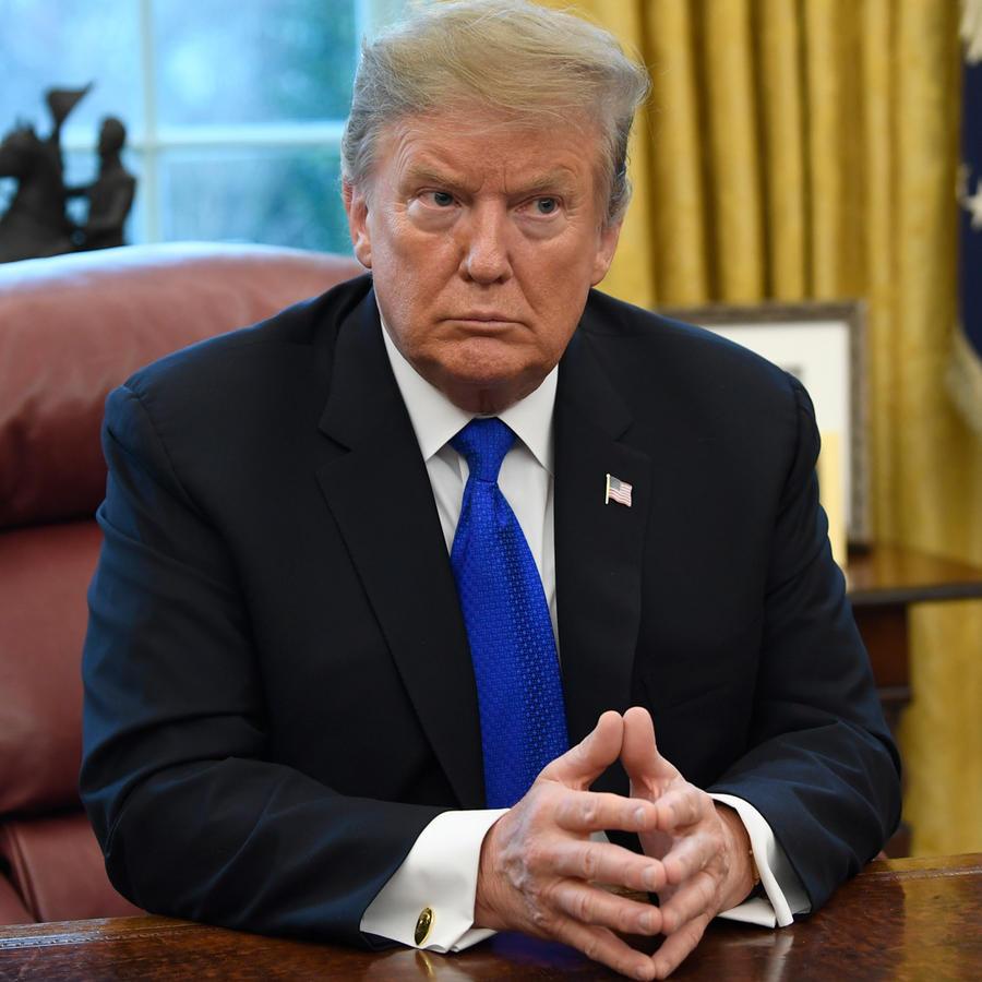 Presidente de EEUU, Donald Trump, durante una reunión sobre reuniones con China por aranceles comerciales