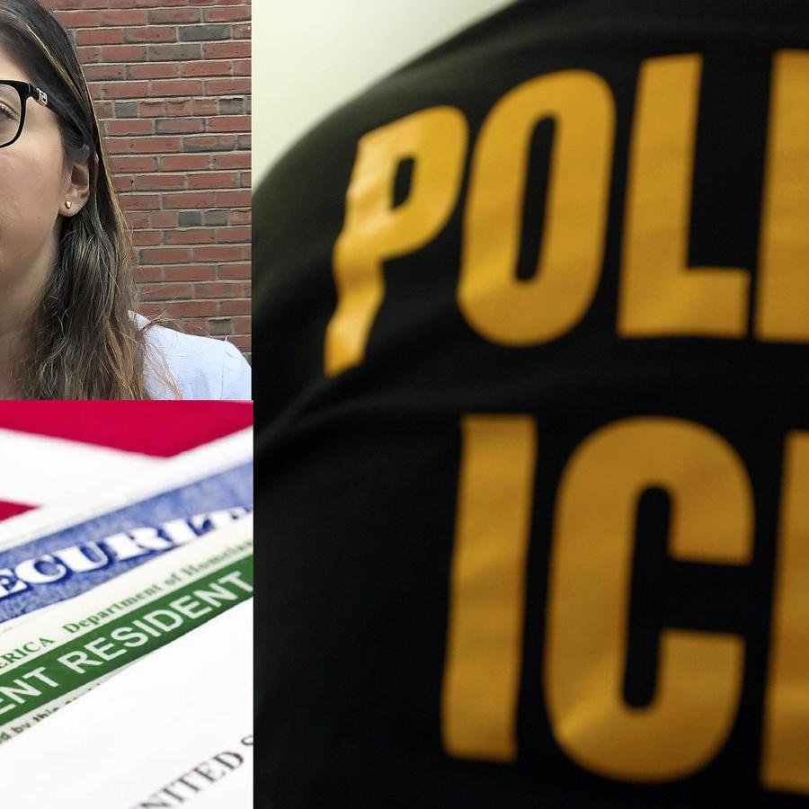 Lilian Calderón, en una imagen de archivo. Debajo, documentación estadounidense, y a la derecha una fotografía de archivo de un agente de ICE.
