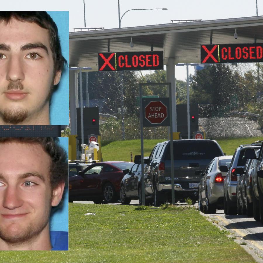 Imagen de archivo de la frontera de Estados Unidos y Canadá. A la izquierda, Bailey y Damien Roy.