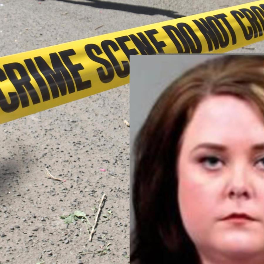 Imagen de archivo de un cordón policial. A la derecha, Alexandra Eslinger.