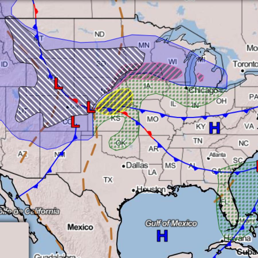 Mapa de EEUU con la tormenta que afecta al centro del país