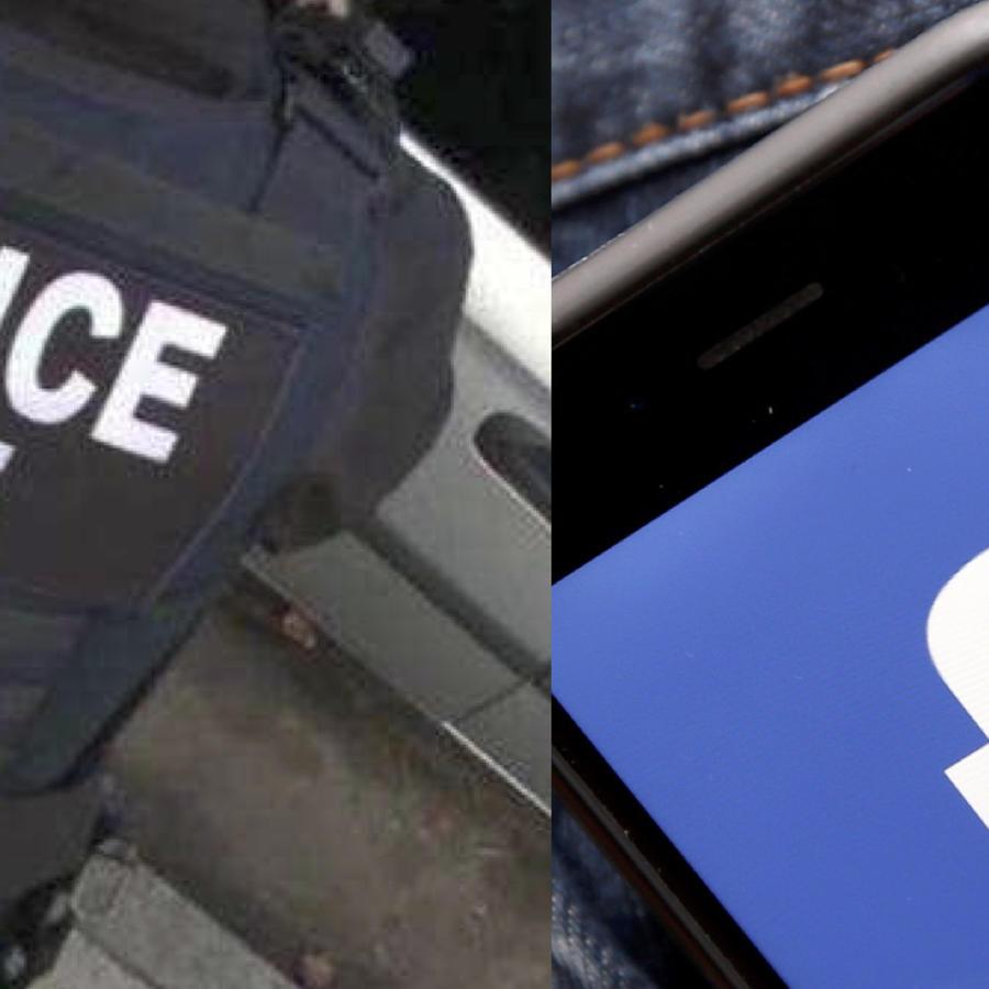 Imagen de archivo de un agente de ICE y de un teléfono celular con el logotipo de Facebook.