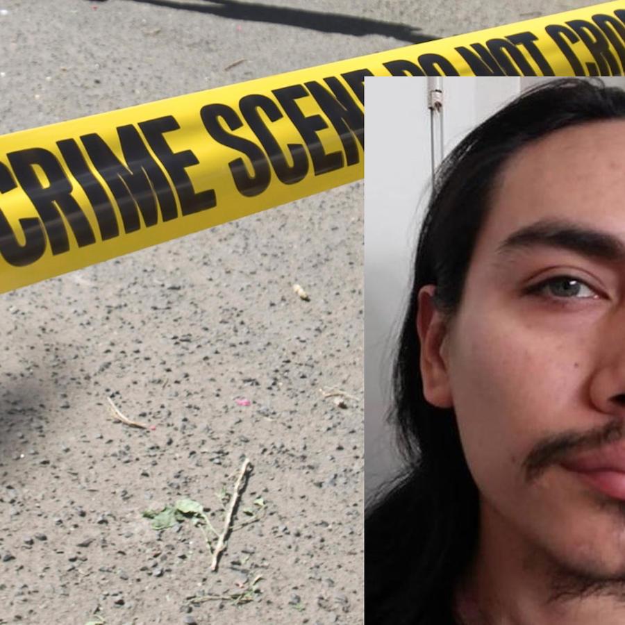 Imagen de archivo de un cordón policial; a la derecha, Jacob Gonzales.