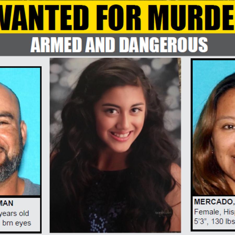 Cartel de policial de búsqueda de los dos sospechosos, y, en el centro, la menor desaparecida.