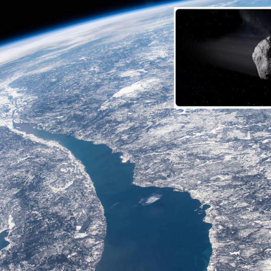Imagen del crater de un meteoro en Canadá. A la derecha, recreación de una roca espacial.