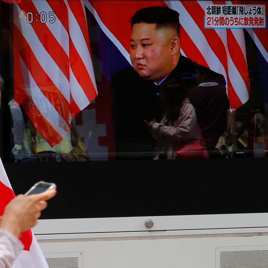 El líder norcoreano Kim Jong-un en una pantalla de televisión hoy