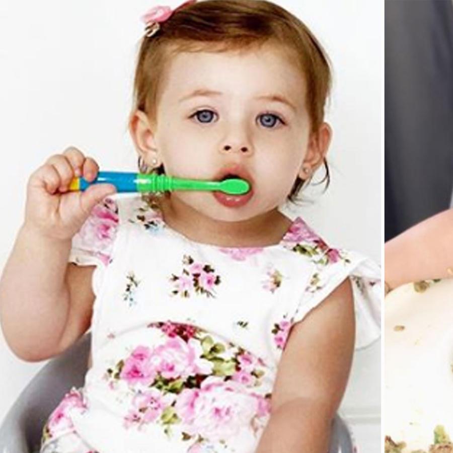 Luna Adkins se lava los dientes