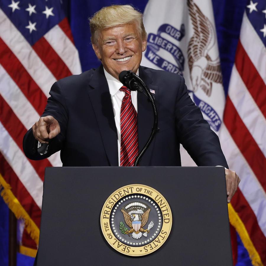 Trump, este martes en un acto electoral en Des Moines, Iowa.