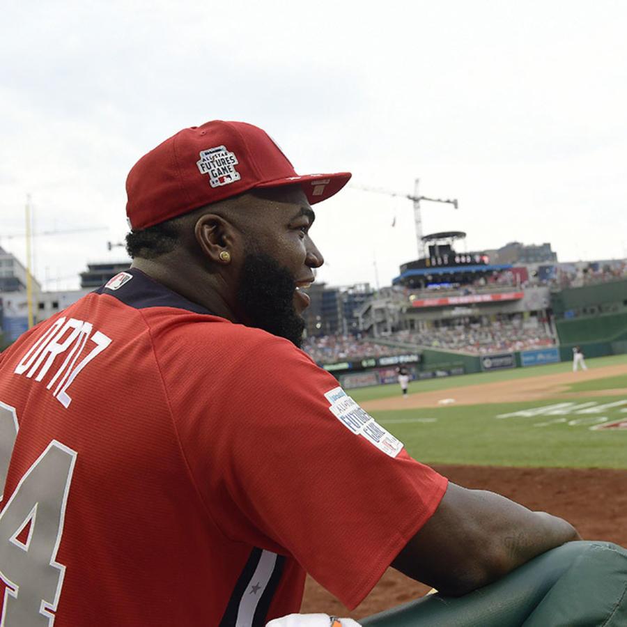 El expelotero dominicano David Ortiz observa un juego de béisbol en el Nationals Park, en Washington.
