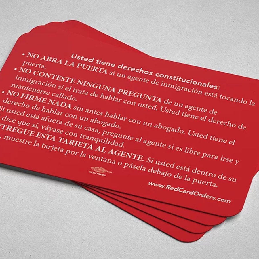 Tarjeta roja con consejos sobre ICE.