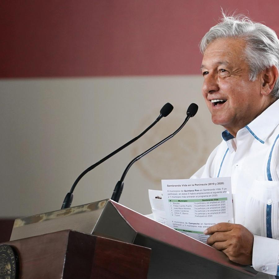El presidente de México, Andrés Manuel López Obrador, en una rueda de presna en una imagen de archivo