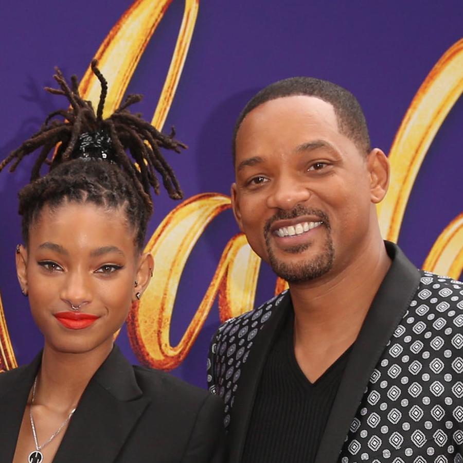 Willow Smith y Will Smith en la premier mundial de Aladdin