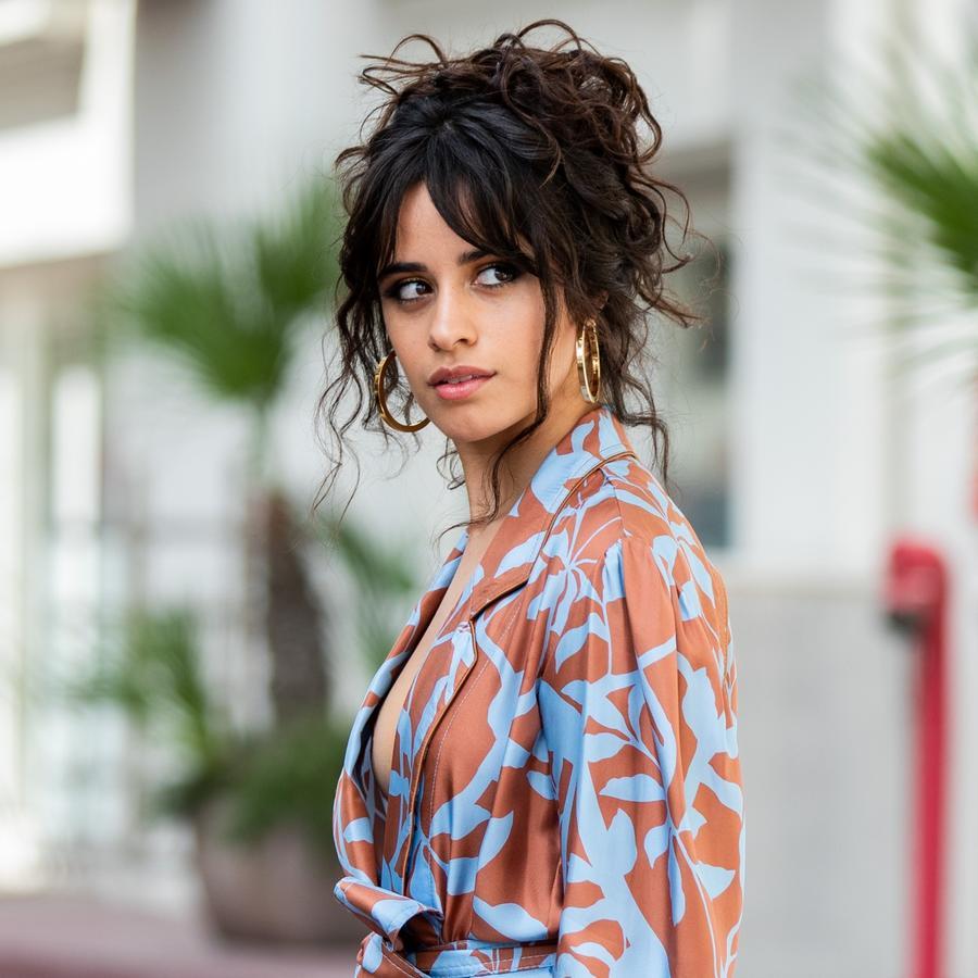 Camila Cabello wearing a blue and orange kimono