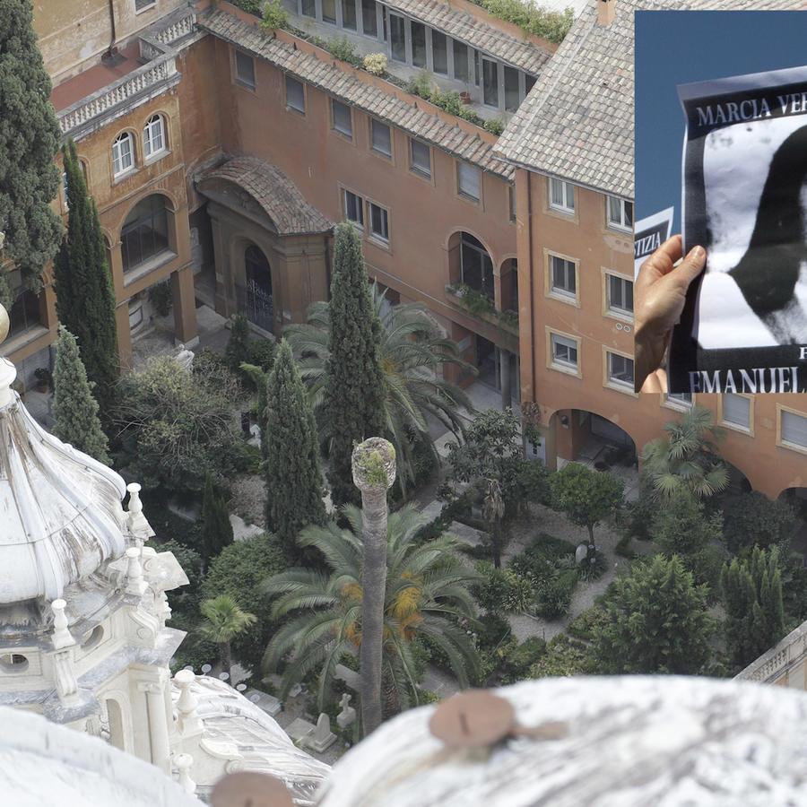 Imagen del Cementerio Teutónico de El Vaticano, este miércoles. A la derecha, cartel con la fotografía de Emanuela Orlandi.