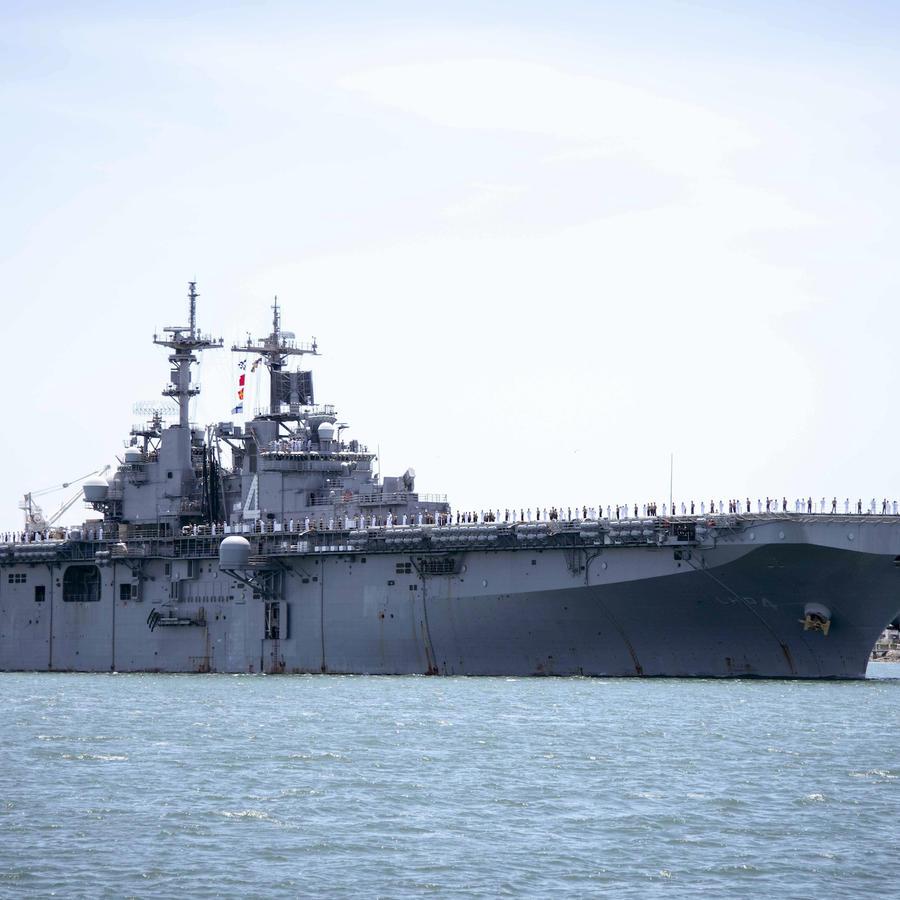 Imagen de archivo del barco de guerra USS Boxer de la Armada.