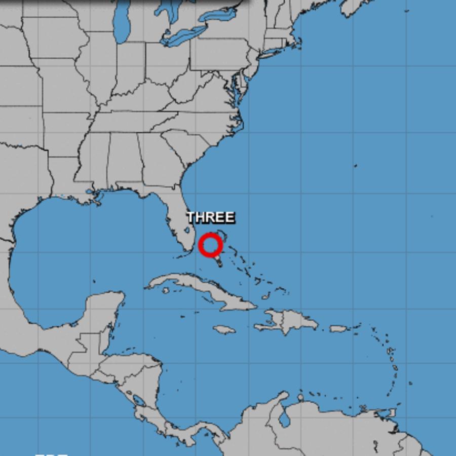 Imagen de la tercera depresión tropical de la temporada, originada en Las Bahamas.