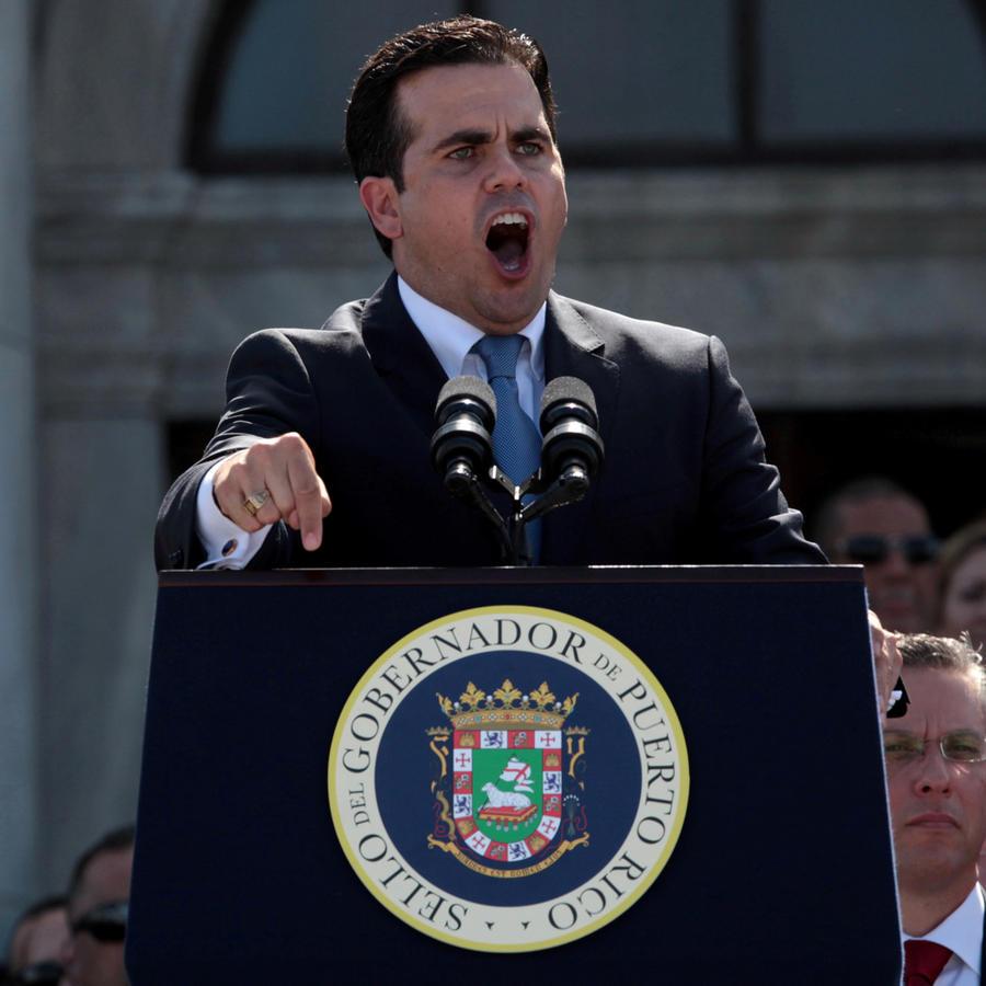 El gobernador de Puerto Rico, Ricardo Roselló, este lunes en un discurso ante el pueblo
