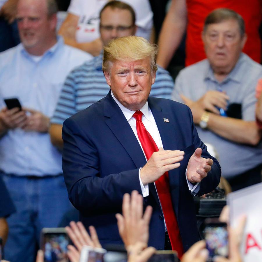 Trump durante un mitin de campaña en Cincinnati, el 1 de agosto de 2019