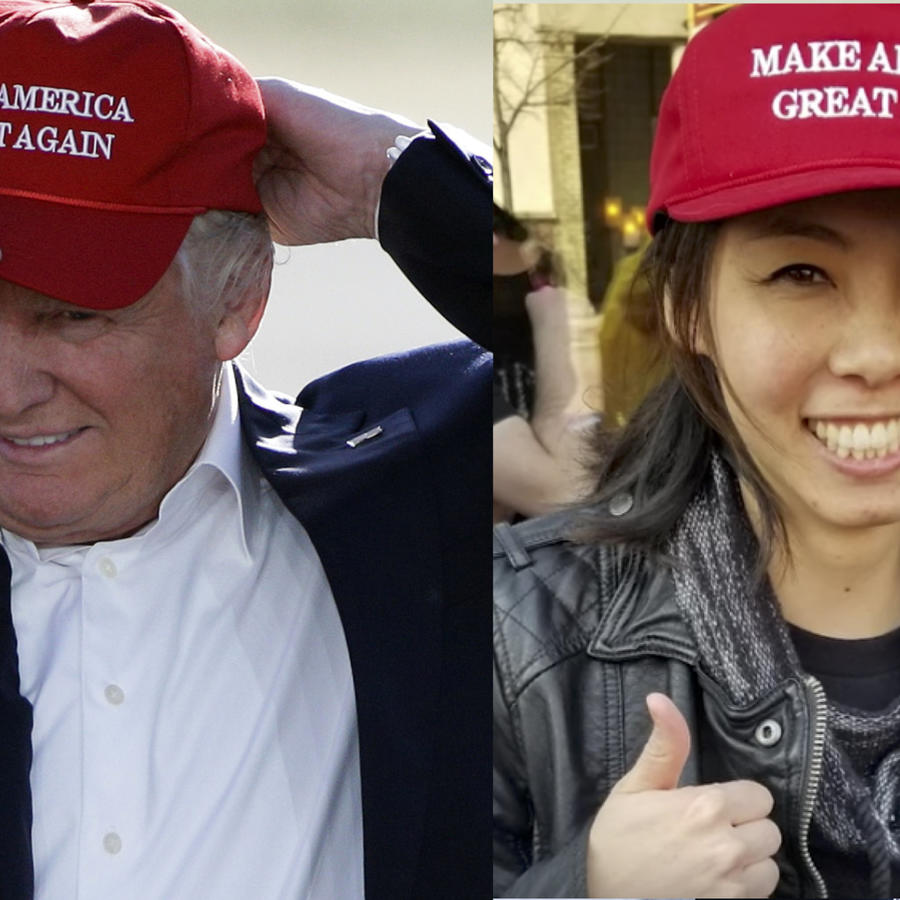 Donald TrumpA la izquierda, imagen de archivo de Trump con su gorra electoral. A la derecha, Williams, en su video promocional.