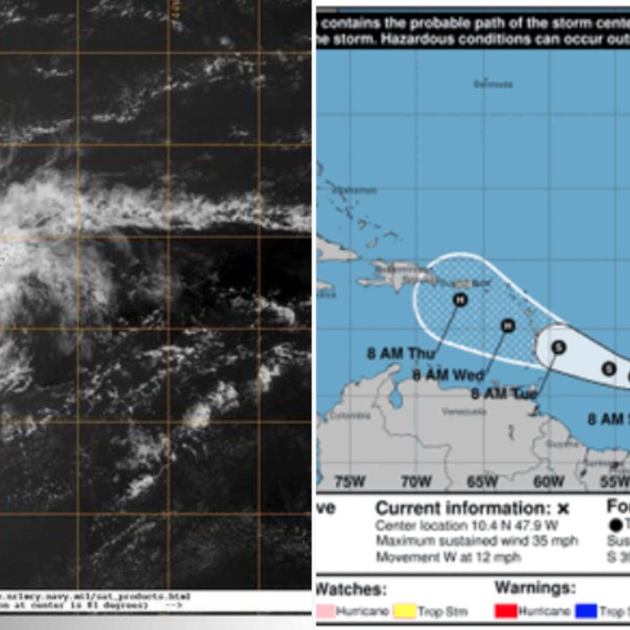 Imágenes del ciclón y la previsión del National Hurricane Center.