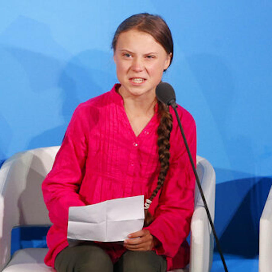 Imagen de Greta Thunberg hablando en la Cumbre de la Acción Climática en la Asamblea General de la Organización de las Naciones Unidas.