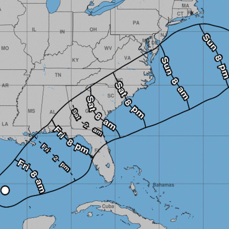 Previsión del Centro Nacional de Huracanes (NHC, en inglés) sobre la evolución de los vientos con fuerza de tormenta tropical previstas para el fin de semana en el sur y sureste de EEUU.