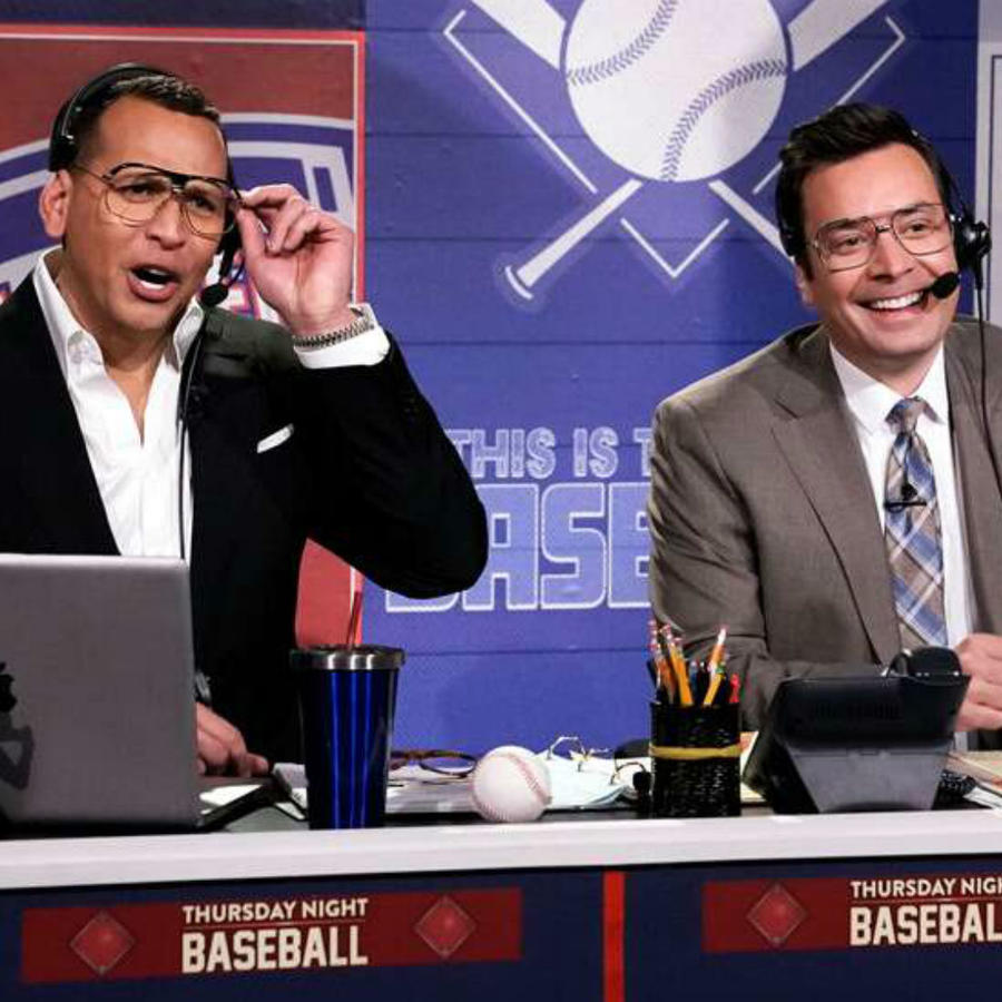 "Alex Rodriguez y Jimmy Fallon en ""The Tonight Show"""