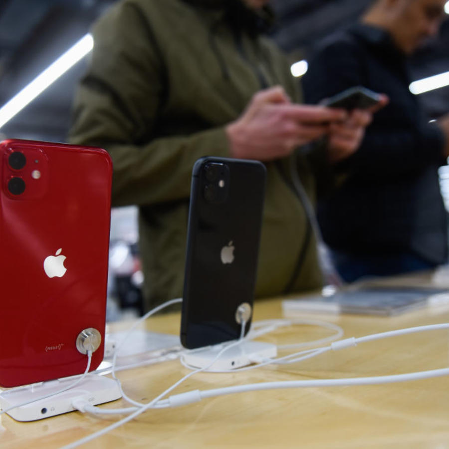 Apple's new mobile phone, iPhone 11 is seen displayed for