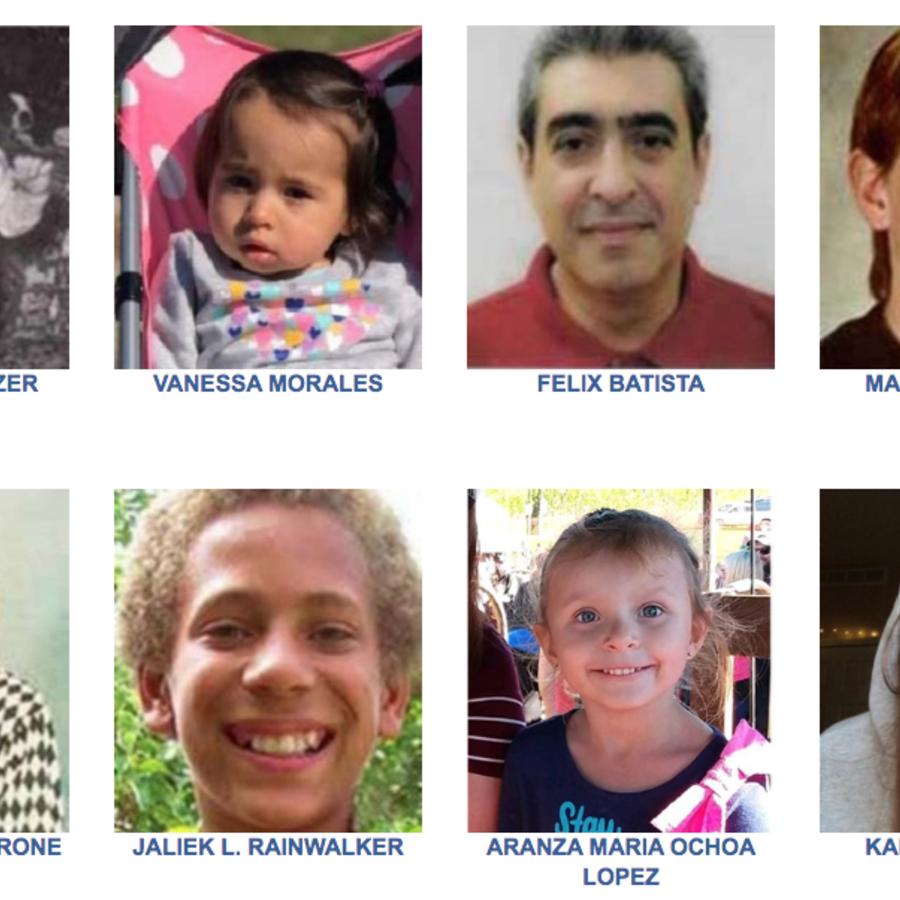 Imágenes en la página del FBI de desaparecidos o secuestrados.