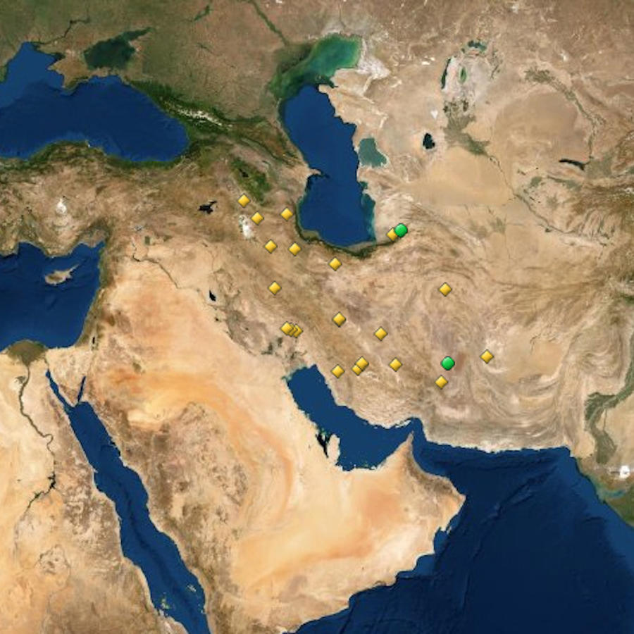 Mapa de tesoros de la humanidad en Irán.