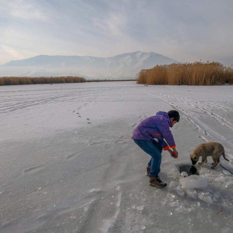 Dangerous fishing on the shores of Lake Van