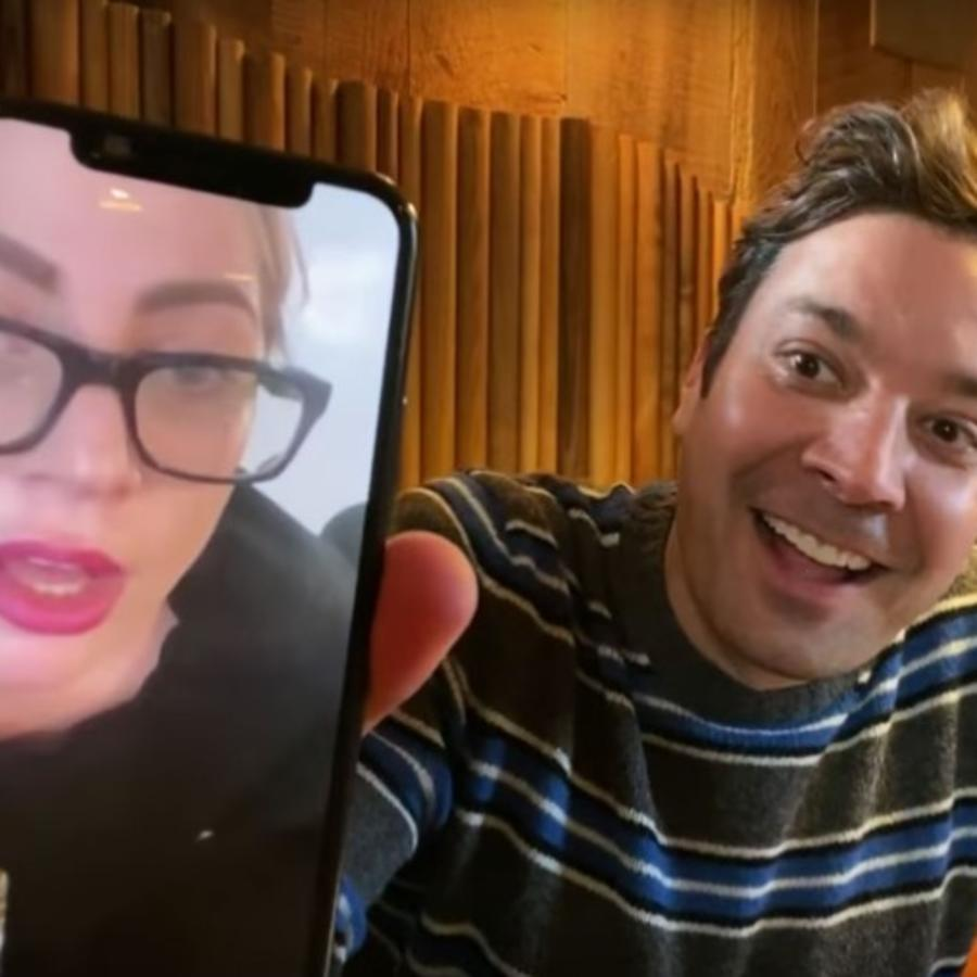 Jimmy Fallon and Lady Gaga on video call