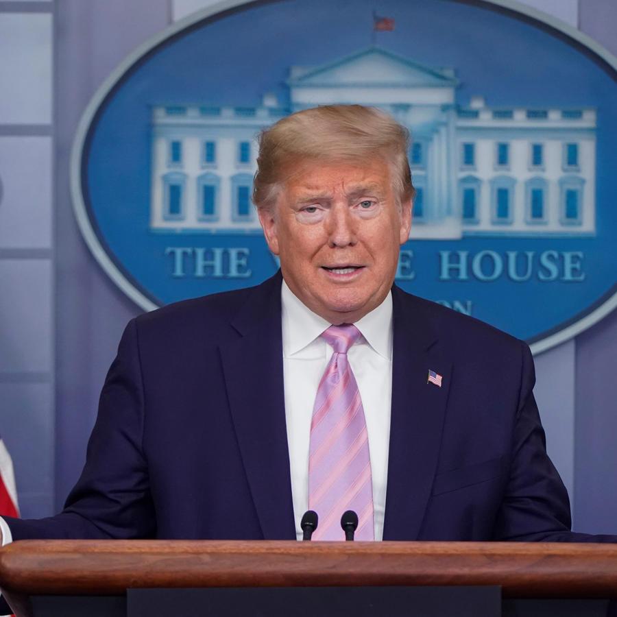 El presidente de Estados Unidos, Donald Trump, este sábado en la conferencia de prensa diaria sobre el coronavirus.