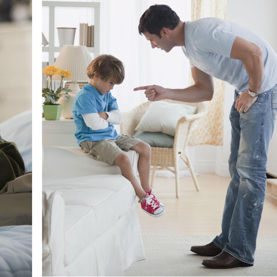 Papá regañando a su hijo