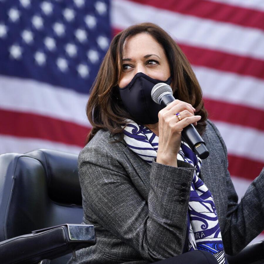 La candidata demócrata a la vicepresidencia participa en un evento en Detroit el 22 de septiembre de 2020.