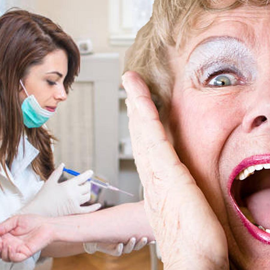 Anciana grita cuando la vacunan