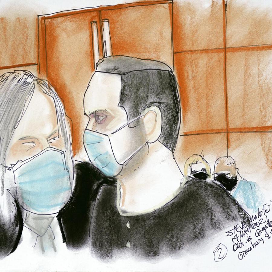 Representación en dibujo de Joel Greenberg, derecha, en corte federal