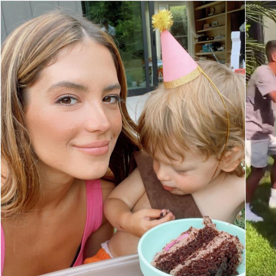 Sarah Kohan y 'Chicharito' Hernández en el cumpleaños de Noah