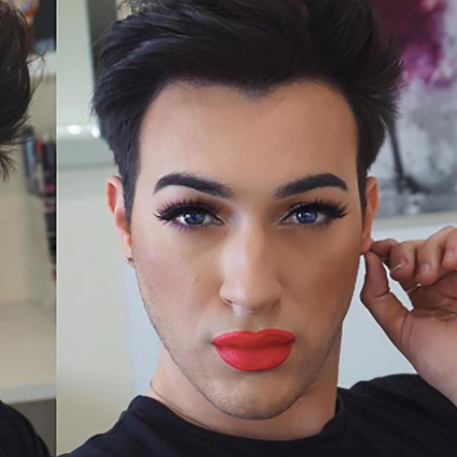 Manny Gutiérrez maquillado con labial rojo