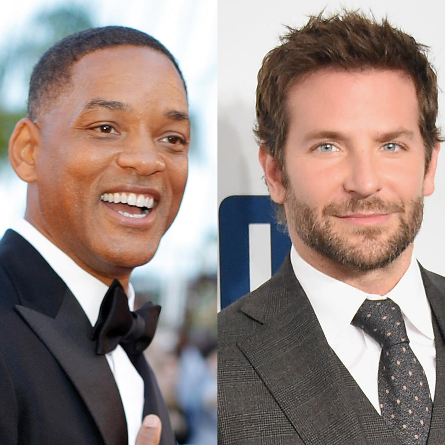 Collage de Will Smith, Bradley Cooper y Harry Styles.