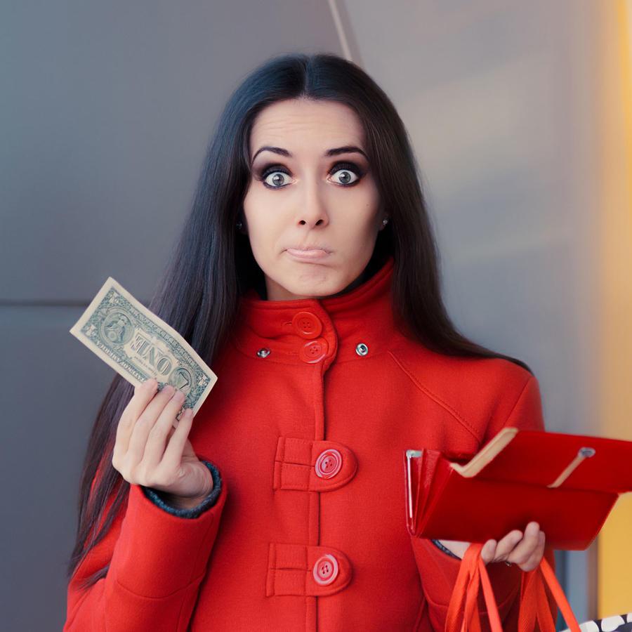 Mujer con un dólar