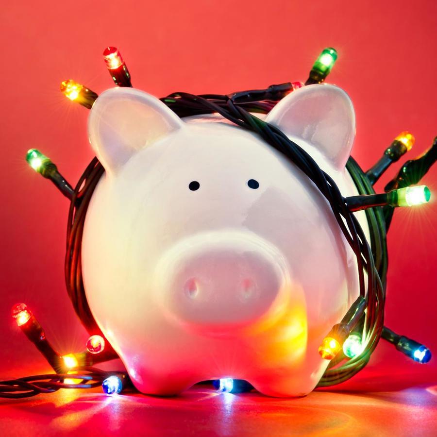 Alcancía con luces navideñas