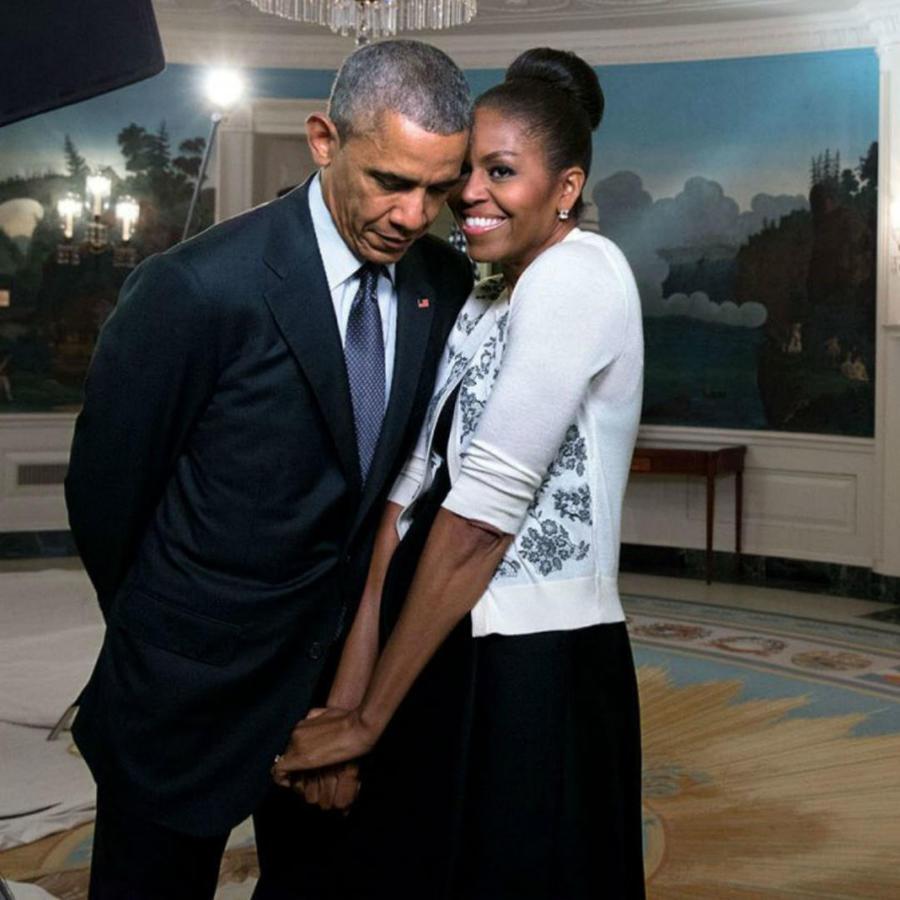 Michelle y Barack Obama en la sala