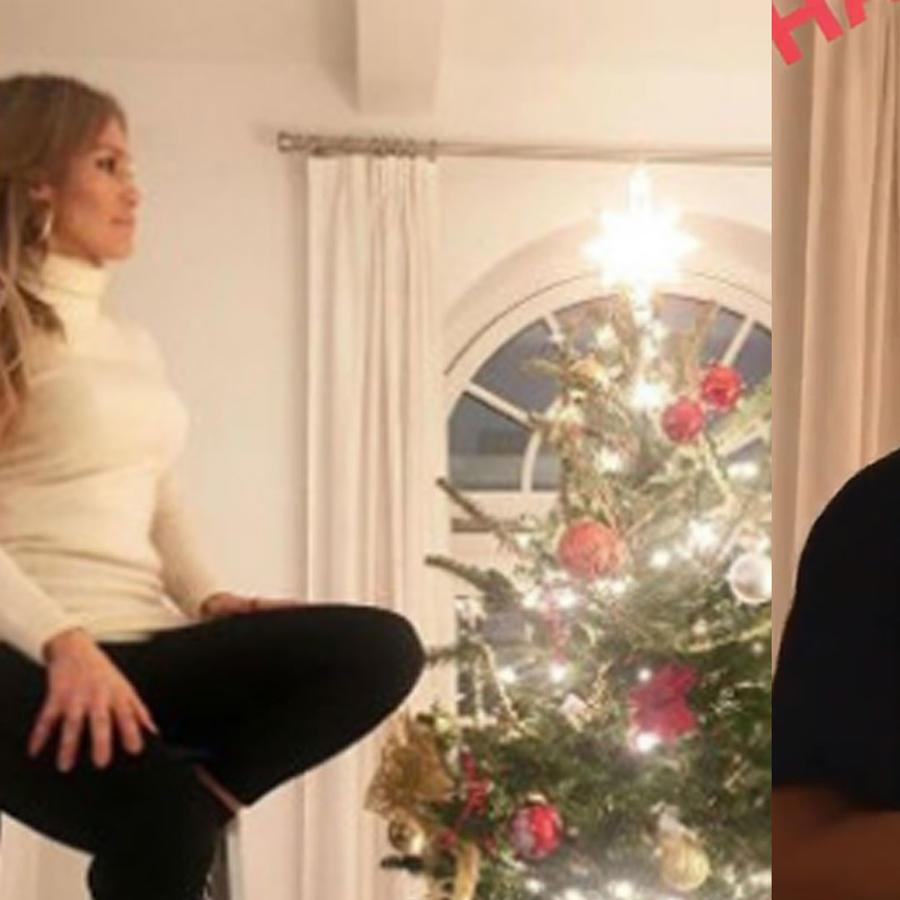 Jennifer Lopez y Alex Rodriguez con su arbolito de Navidad