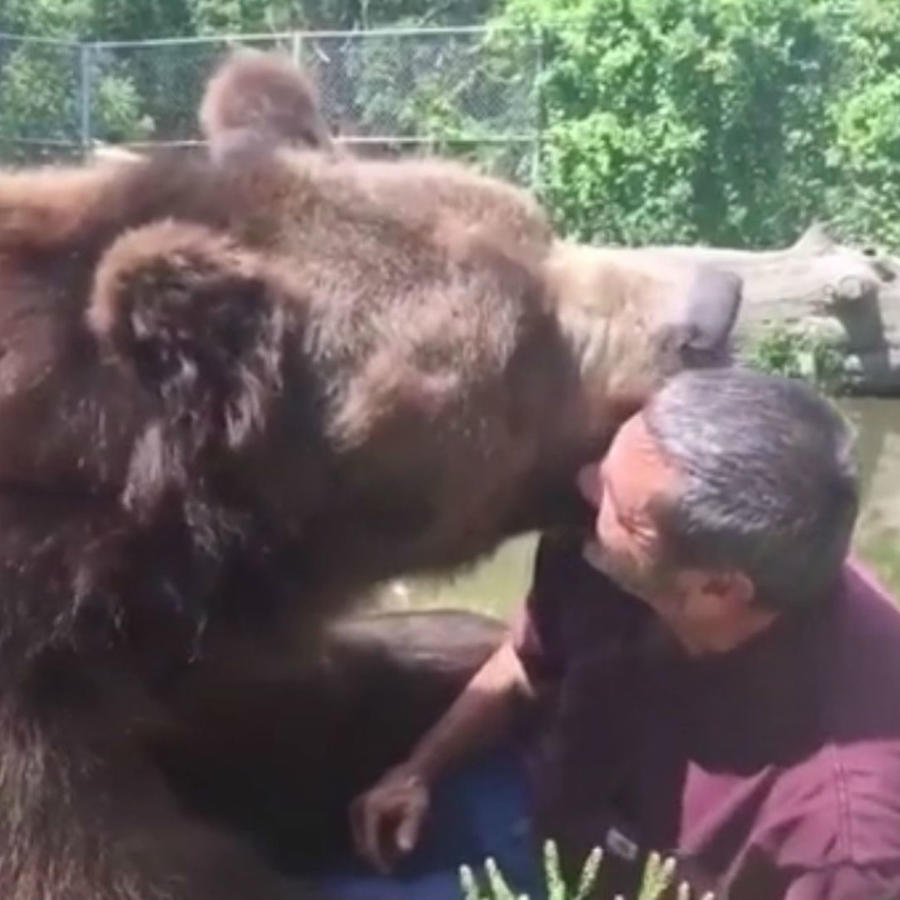 Jim Kowalczik y Jimbo el oso kodiak