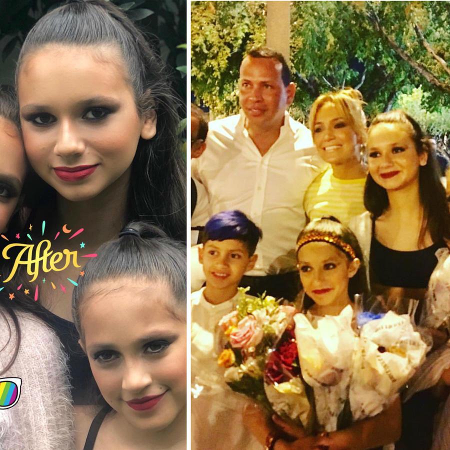 Jennifer Lopez y Alex Rodriguez con sus hijas en el recital